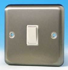 Varilight 1 Gang 1 or 2 Way 10A Rocker Light Switch Brushed Matt Chrome White Insert XS1W